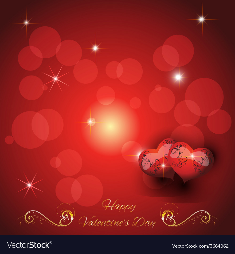 Festive greeting card with two hearts valentines d vector | Price: 1 Credit (USD $1)