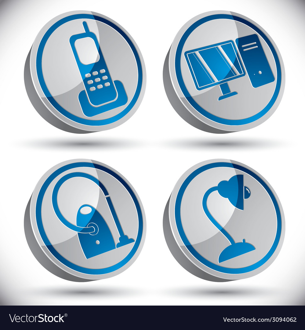 Household appliances icons set 1 vector | Price: 1 Credit (USD $1)
