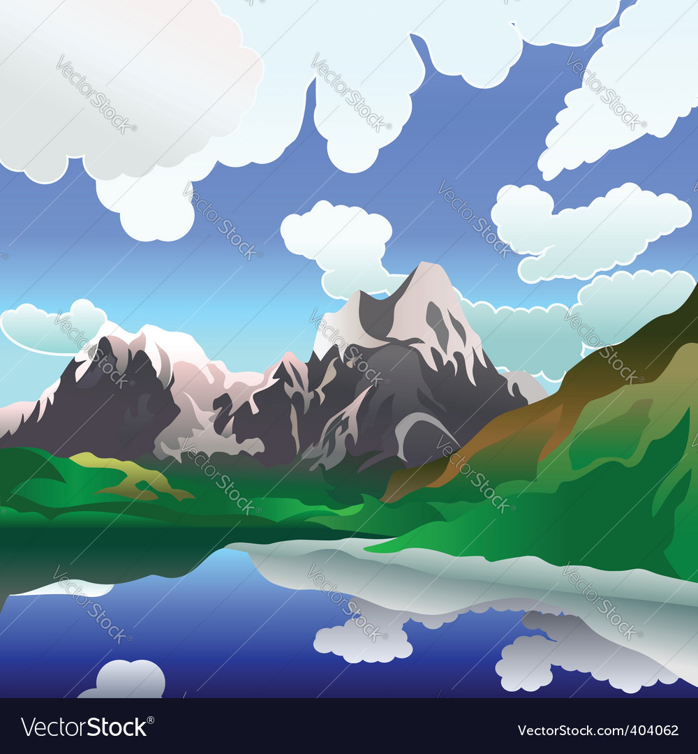 Landscape with mountain lake vector | Price: 1 Credit (USD $1)