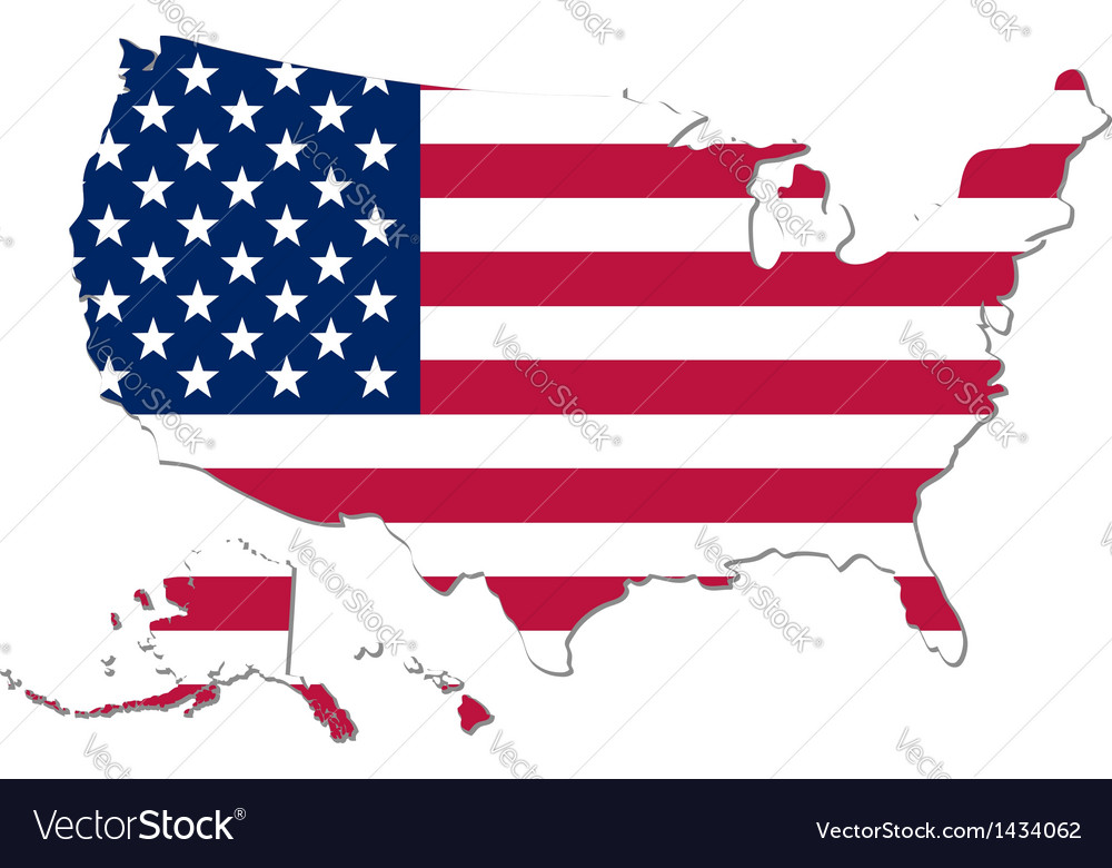 Map of the usa with national flag vector | Price: 1 Credit (USD $1)