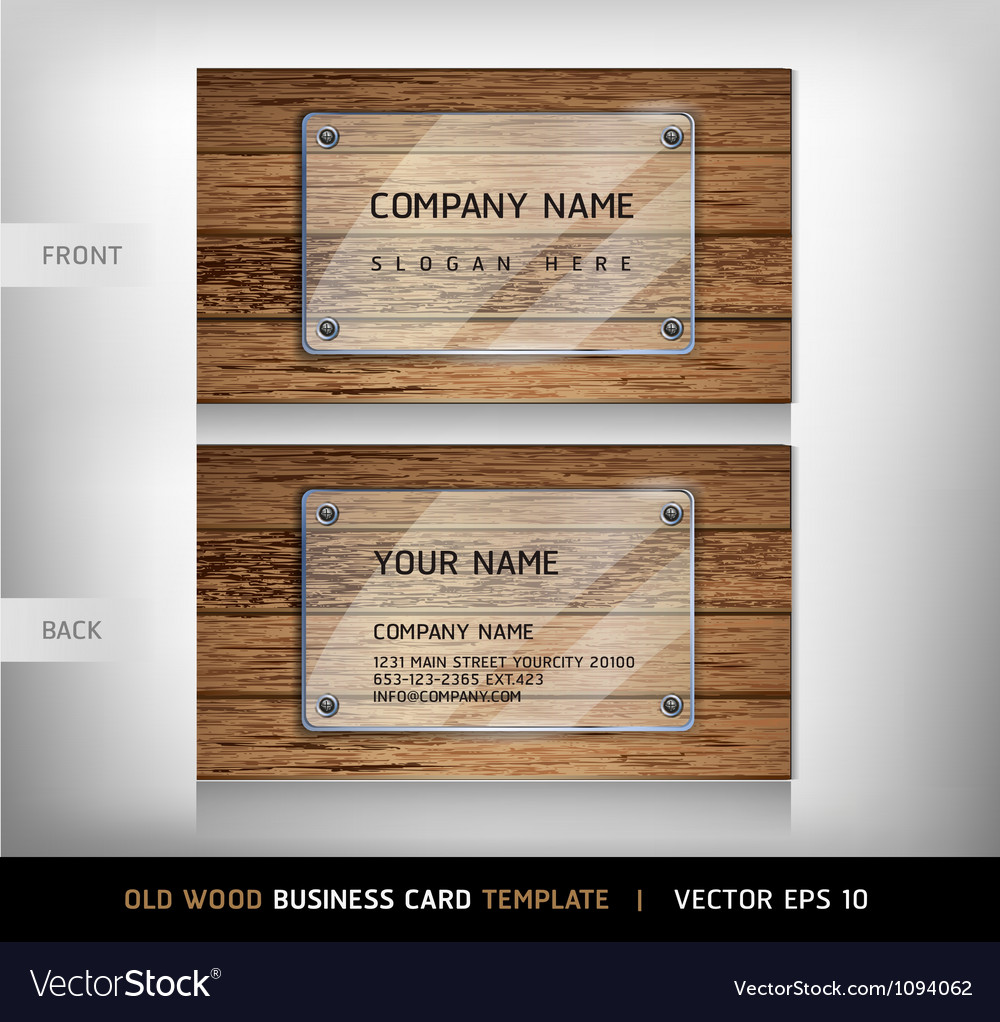 Old wooden texture business card background vector | Price: 1 Credit (USD $1)