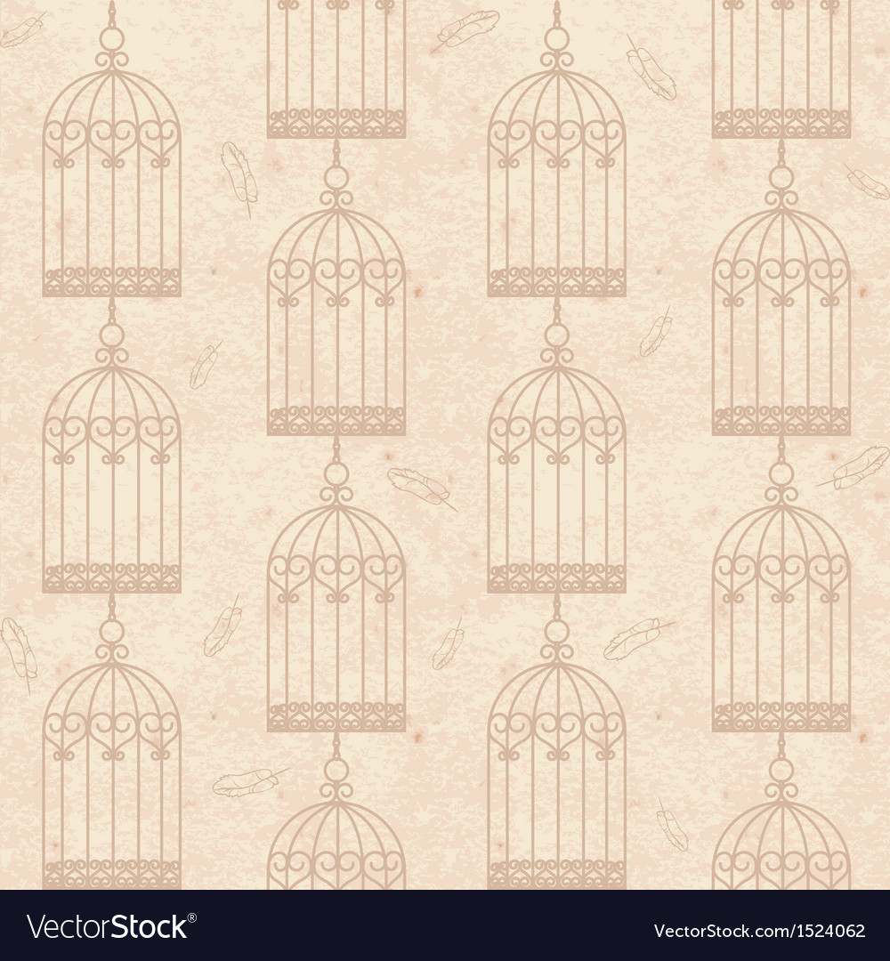 Seamless old cardboard texture with bird cage vector | Price: 1 Credit (USD $1)