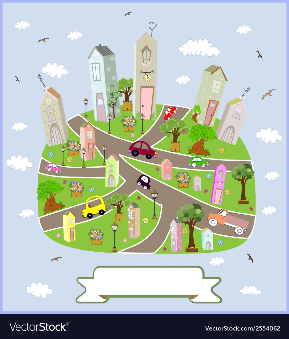 Spring sunny town vector | Price: 1 Credit (USD $1)