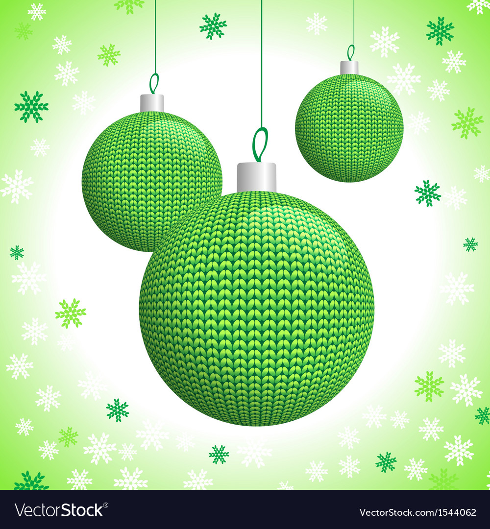 Three green knitted christmas balls vector | Price: 1 Credit (USD $1)