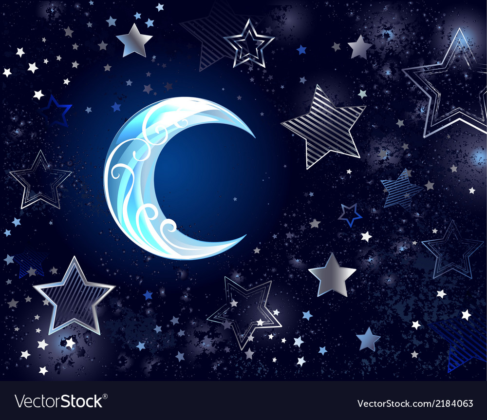 Background with a blue moon vector | Price: 1 Credit (USD $1)