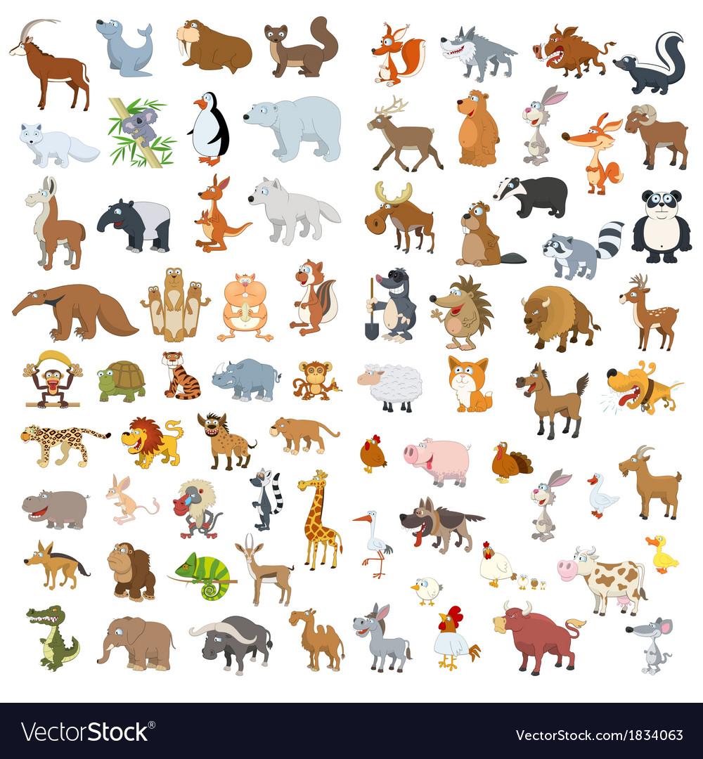 Big animals set4 vector | Price: 1 Credit (USD $1)