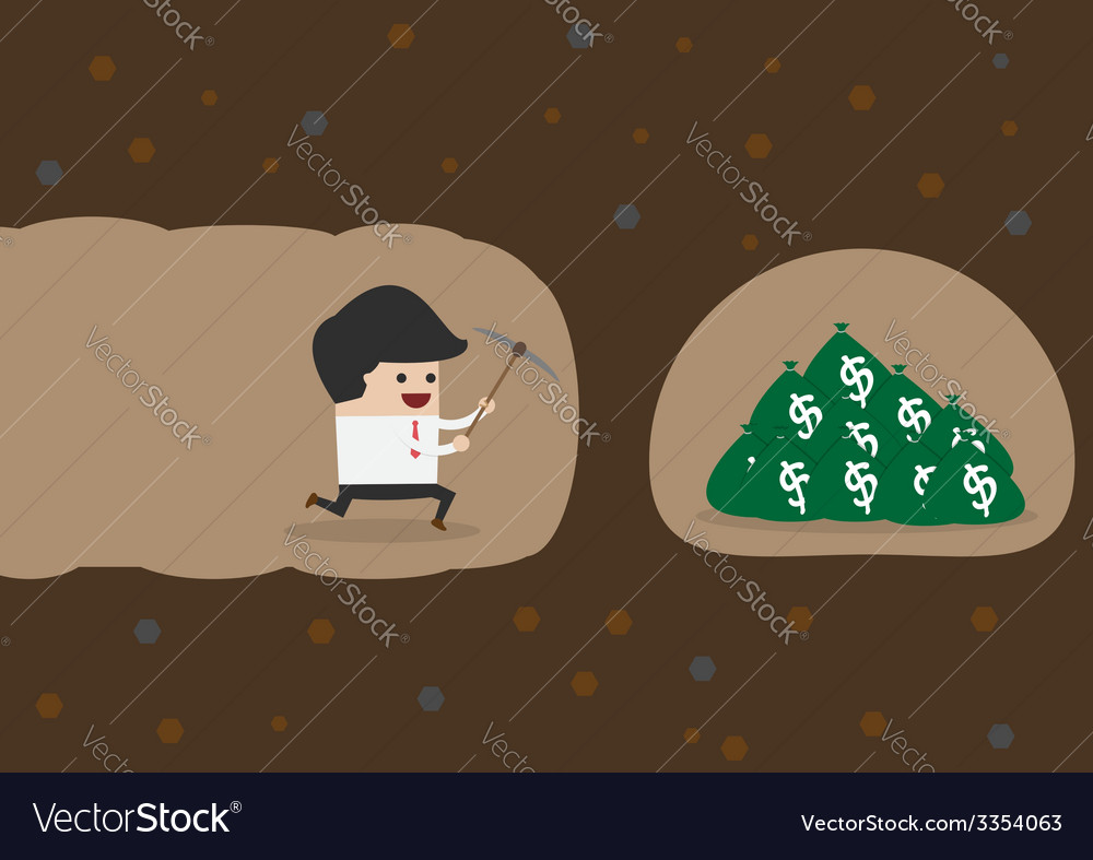 Businessman digging to find money vector | Price: 1 Credit (USD $1)