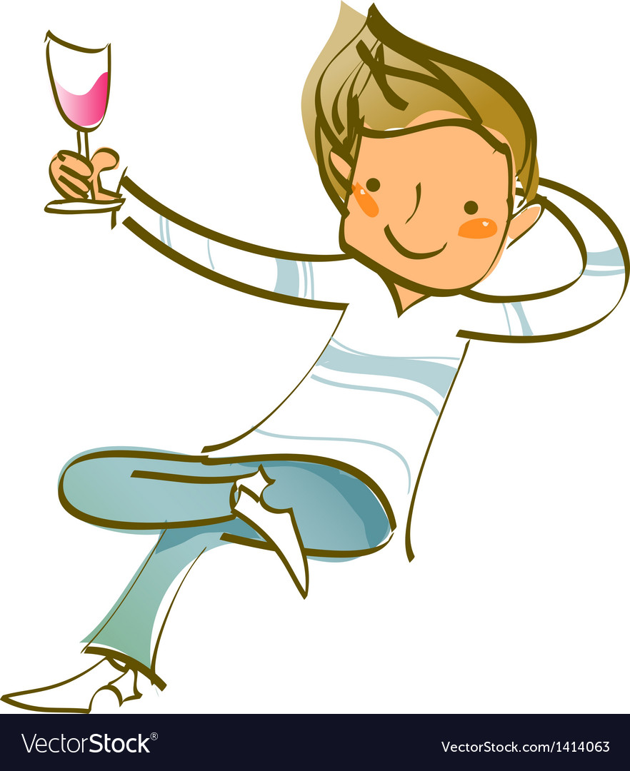Close-up of man holding wineglass vector | Price: 1 Credit (USD $1)