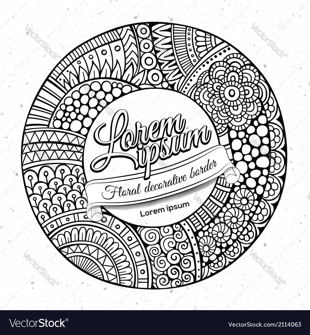 Decorative hand drawn circle frame vector | Price: 1 Credit (USD $1)