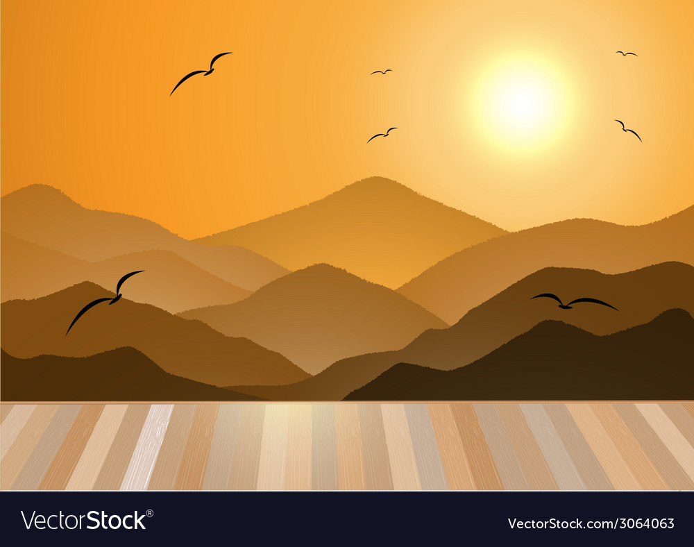 Evening mountains with wooden floor vector | Price: 1 Credit (USD $1)