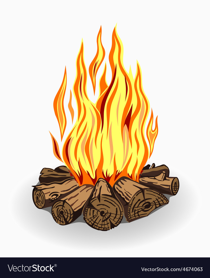 Isolated camp fire on white vector | Price: 3 Credit (USD $3)