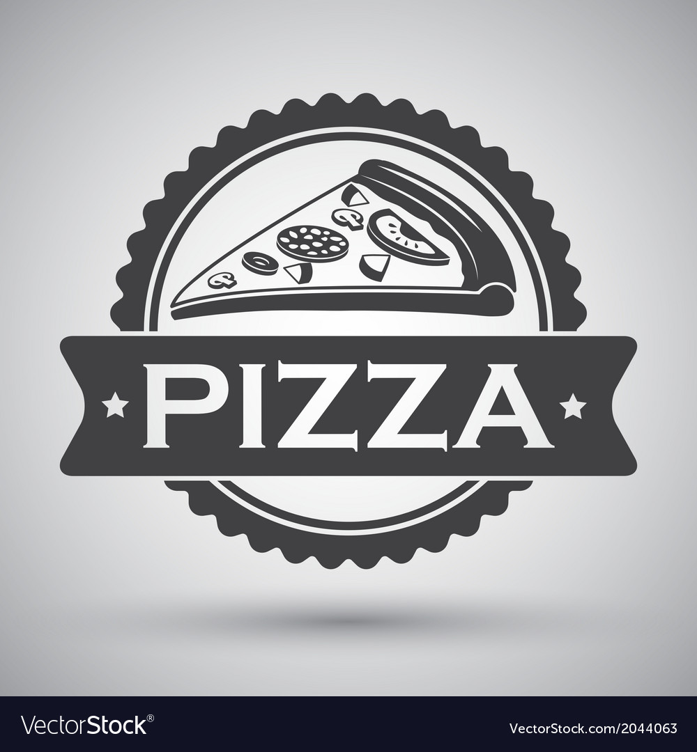 Pizza slice emblem vector | Price: 1 Credit (USD $1)