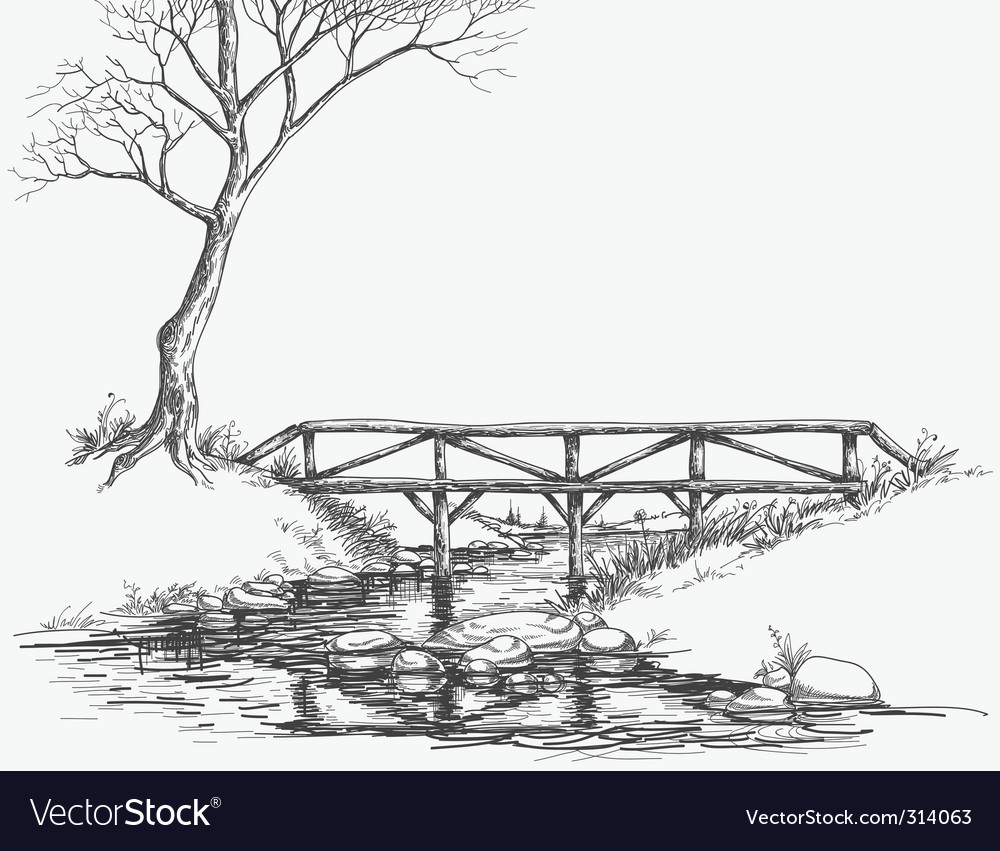 River bridge sketch vector | Price: 5 Credit (USD $5)