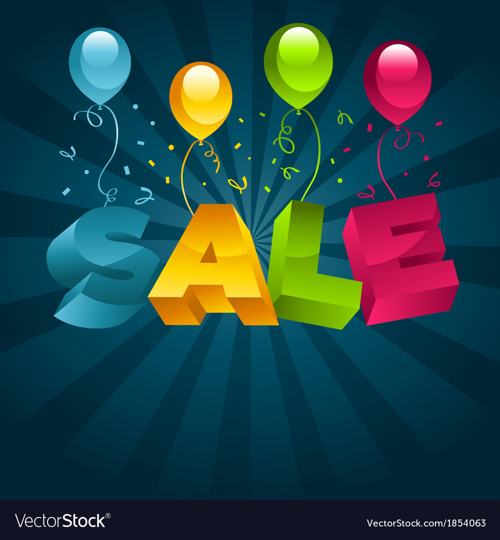Sale with balloons vector | Price: 1 Credit (USD $1)