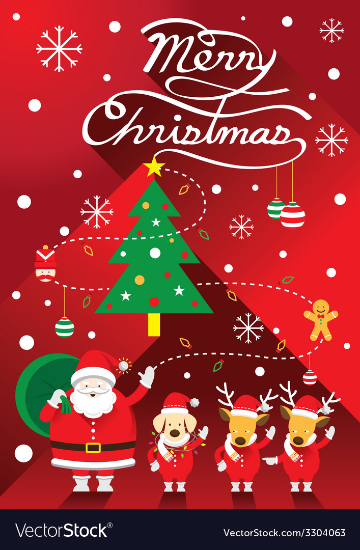 Santa with dog and reindeer vector | Price: 1 Credit (USD $1)