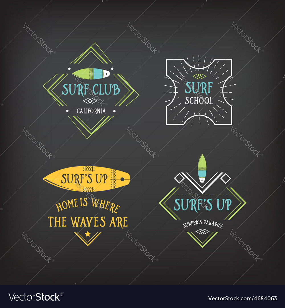 Surf vintage elements retro logo board hawaii vector | Price: 1 Credit (USD $1)