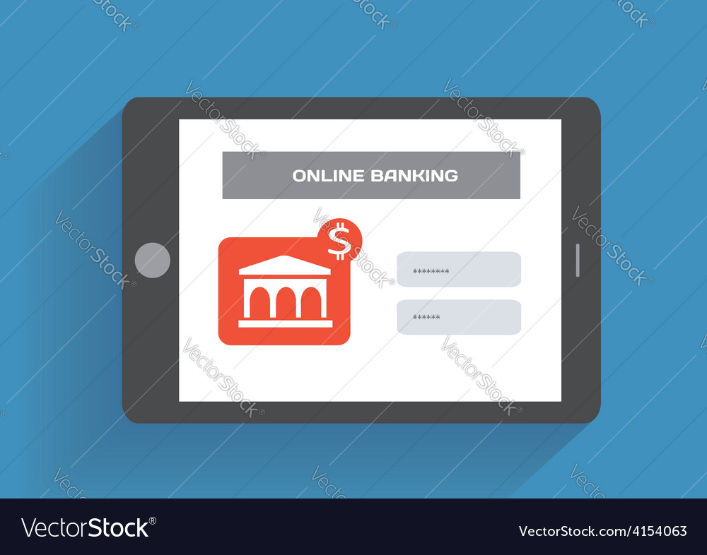 Tablet pc with online banking icon on the screen vector | Price: 1 Credit (USD $1)