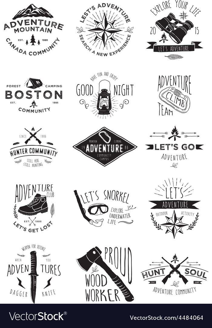 15 adventure activity badges vector | Price: 1 Credit (USD $1)