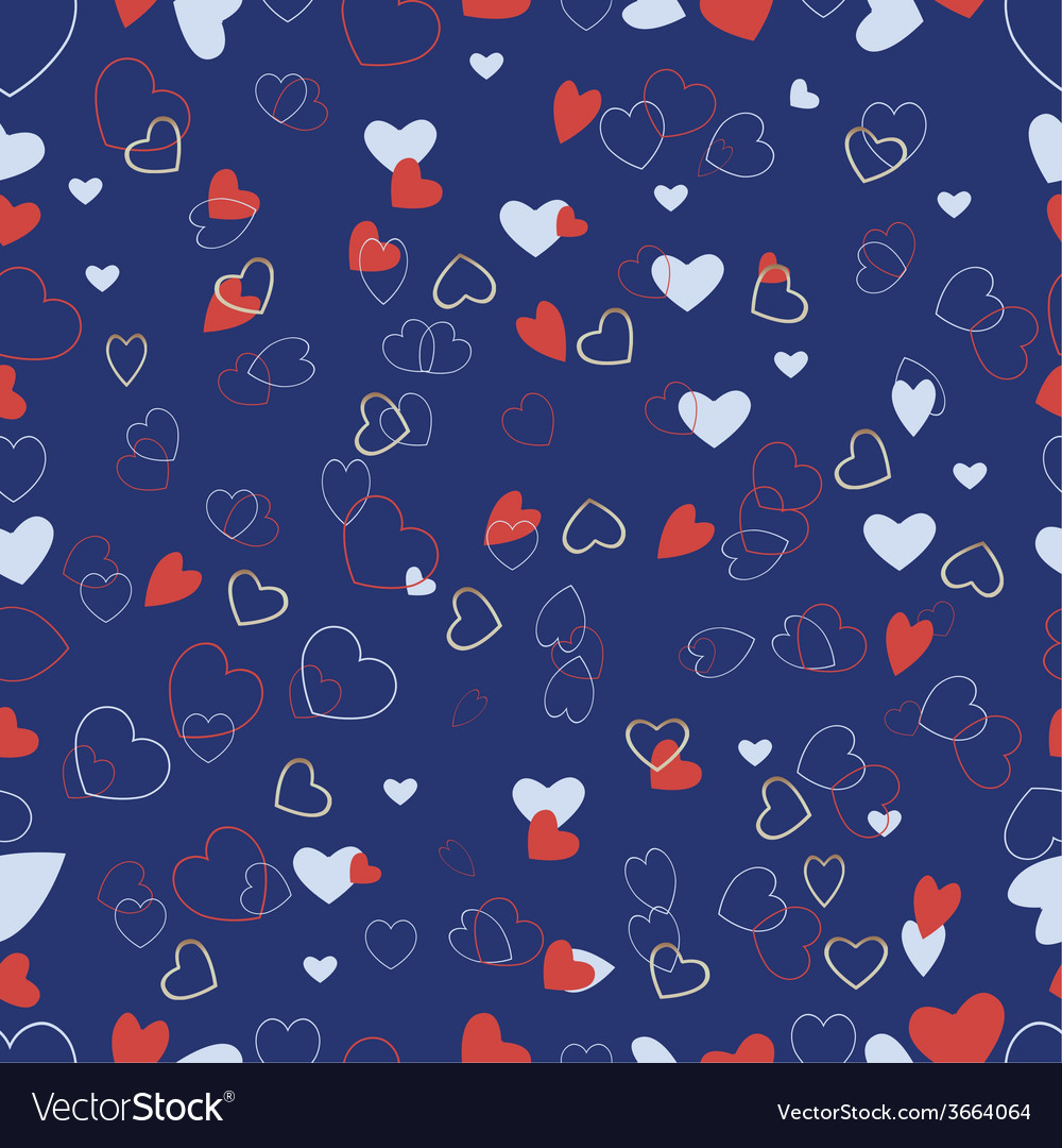 Blue background with a variety of hearts vector | Price: 1 Credit (USD $1)