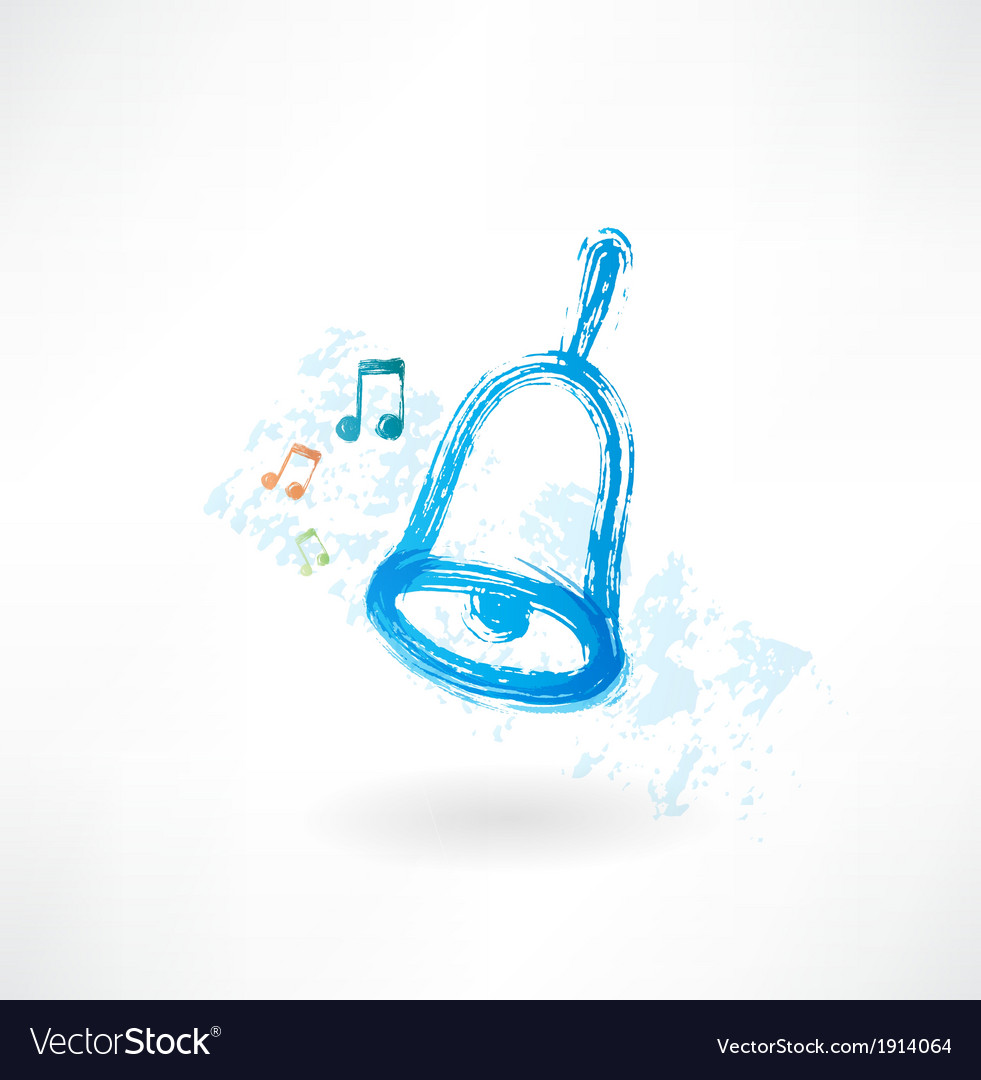 Blue bell rings grunge icon vector | Price: 1 Credit (USD $1)