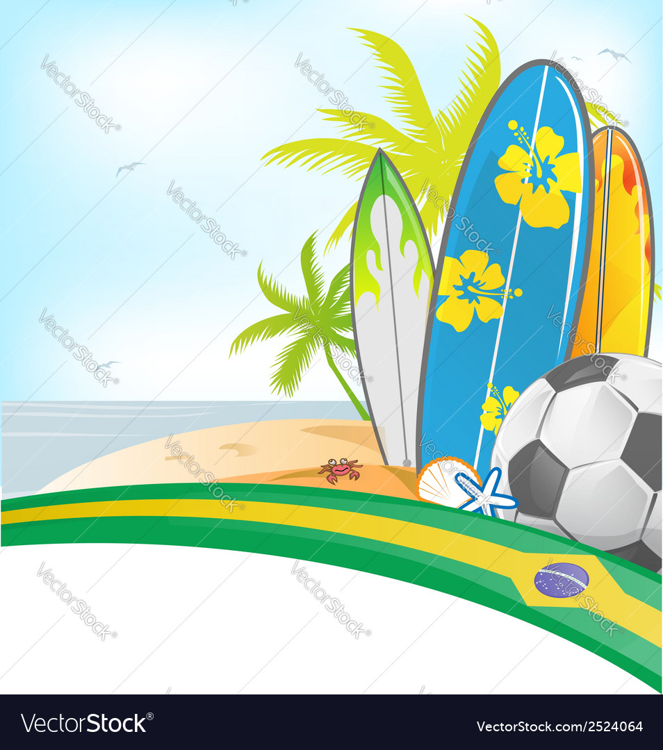 Brazil summer background with surfboard and soccer vector | Price: 1 Credit (USD $1)