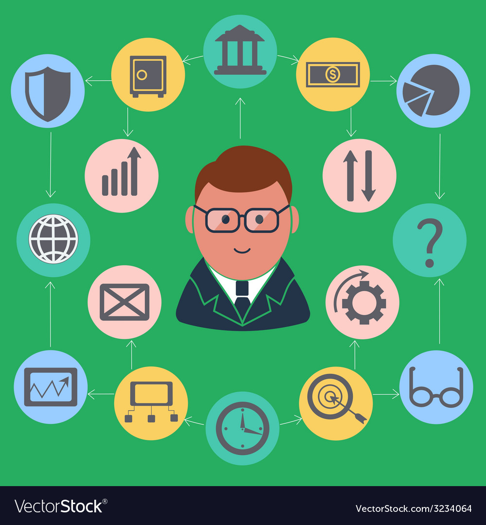 Businessman surrounded finance activities icons vector | Price: 1 Credit (USD $1)