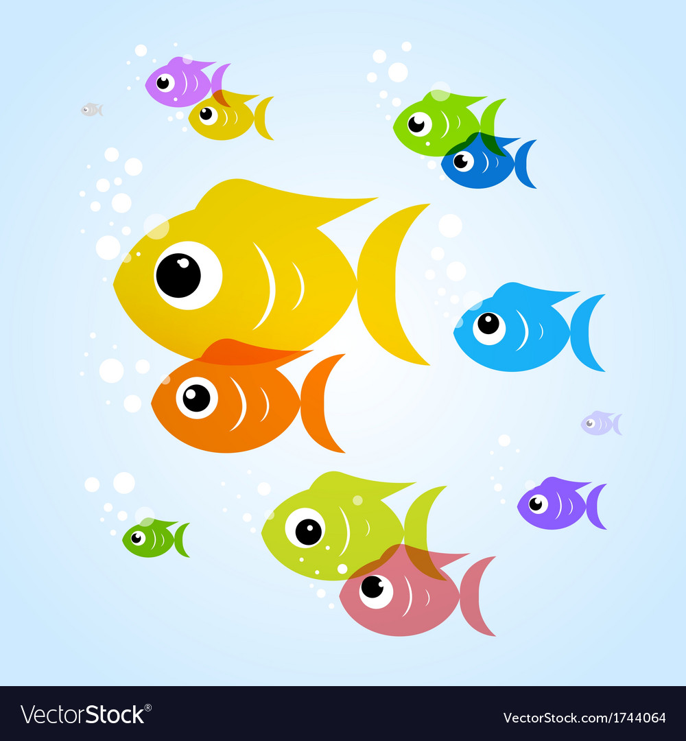 Colorful fish in blue water vector | Price: 1 Credit (USD $1)