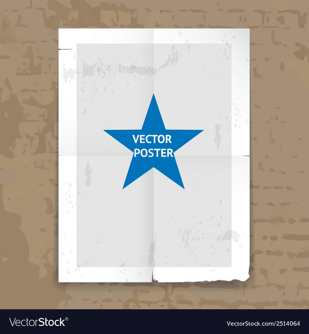 Grunge tattered folded poster template vector | Price: 1 Credit (USD $1)