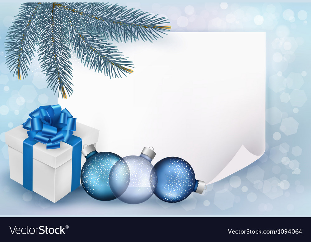 Holiday blue background with christmas sheet of vector | Price: 1 Credit (USD $1)