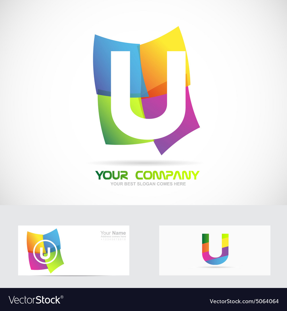 Letter u colored logo vector