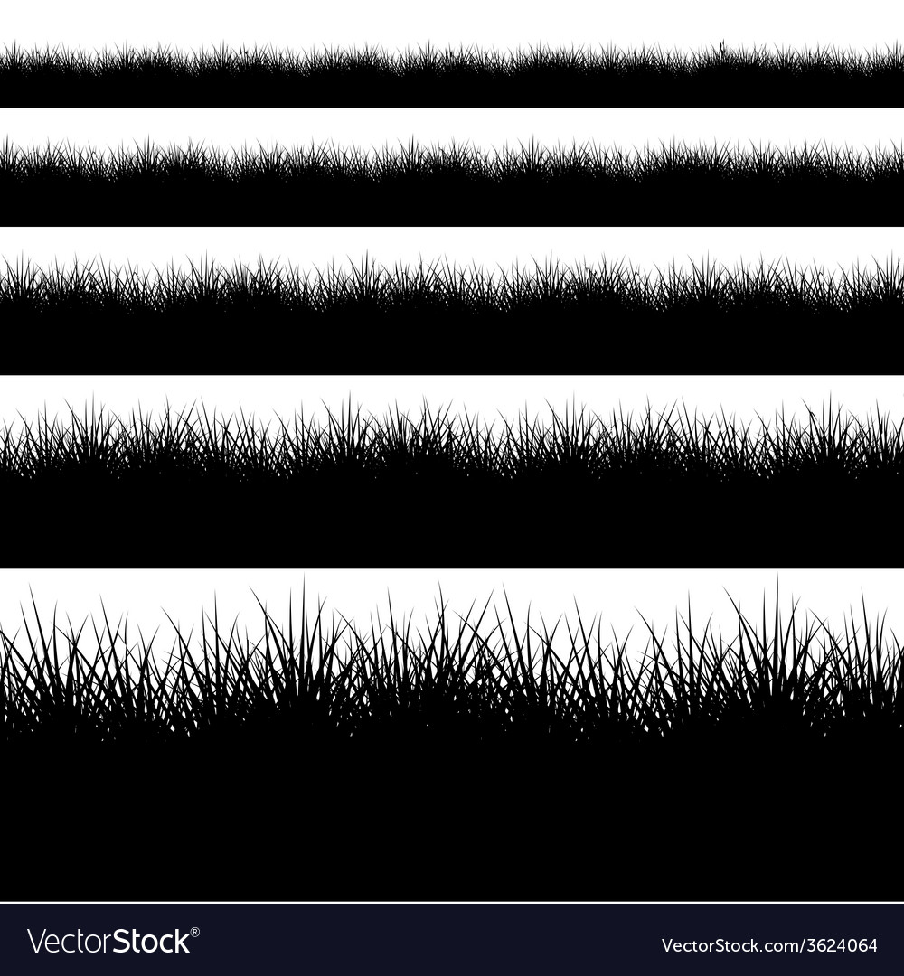 Modern black grass set on white vector | Price: 1 Credit (USD $1)