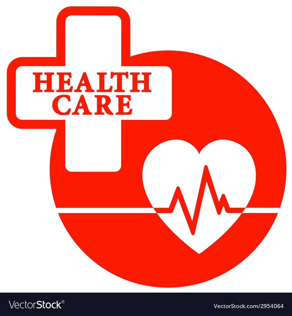 Red health care icon with heart vector | Price: 1 Credit (USD $1)