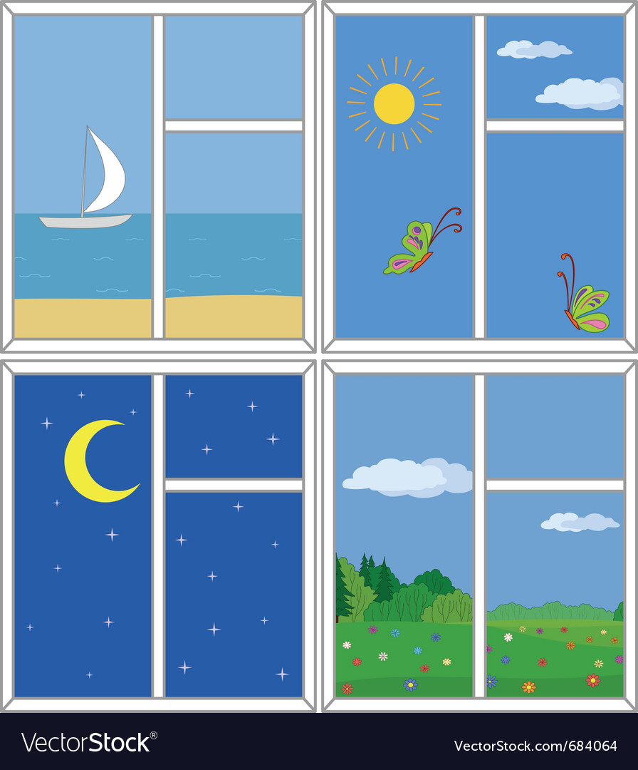 Windows with views vector   Price: 1 Credit (USD $1)