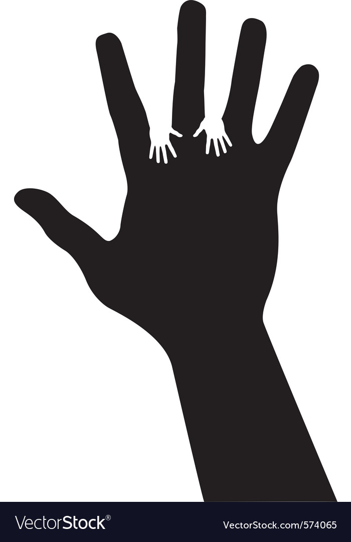 Adult hand silhouette with baby hand silhouette vector | Price: 1 Credit (USD $1)