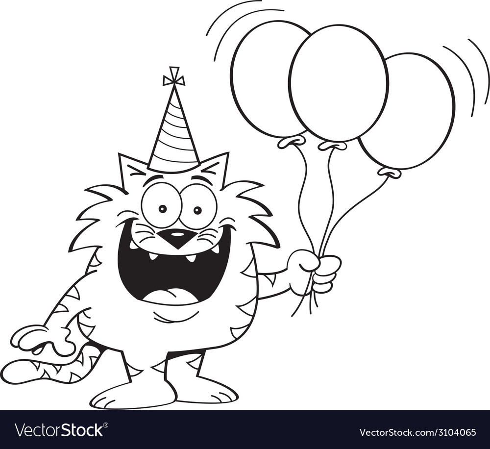Cartoon cat holding balloons vector | Price: 1 Credit (USD $1)