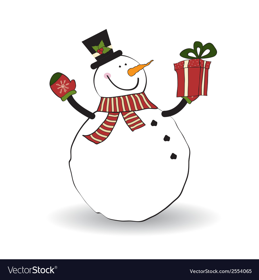 Christmas greeting card with snowman vector   Price: 1 Credit (USD $1)
