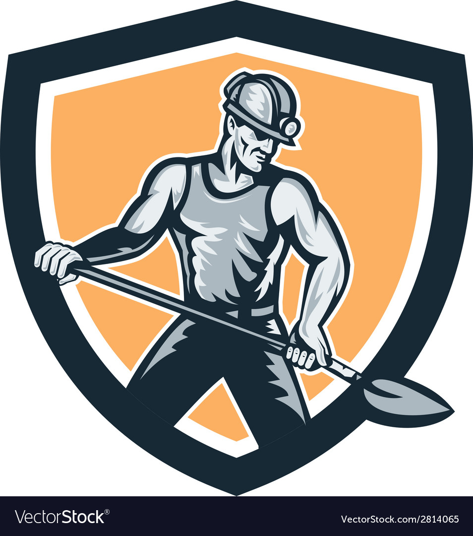 Coal miner hardhat shovel shield retro vector | Price: 1 Credit (USD $1)
