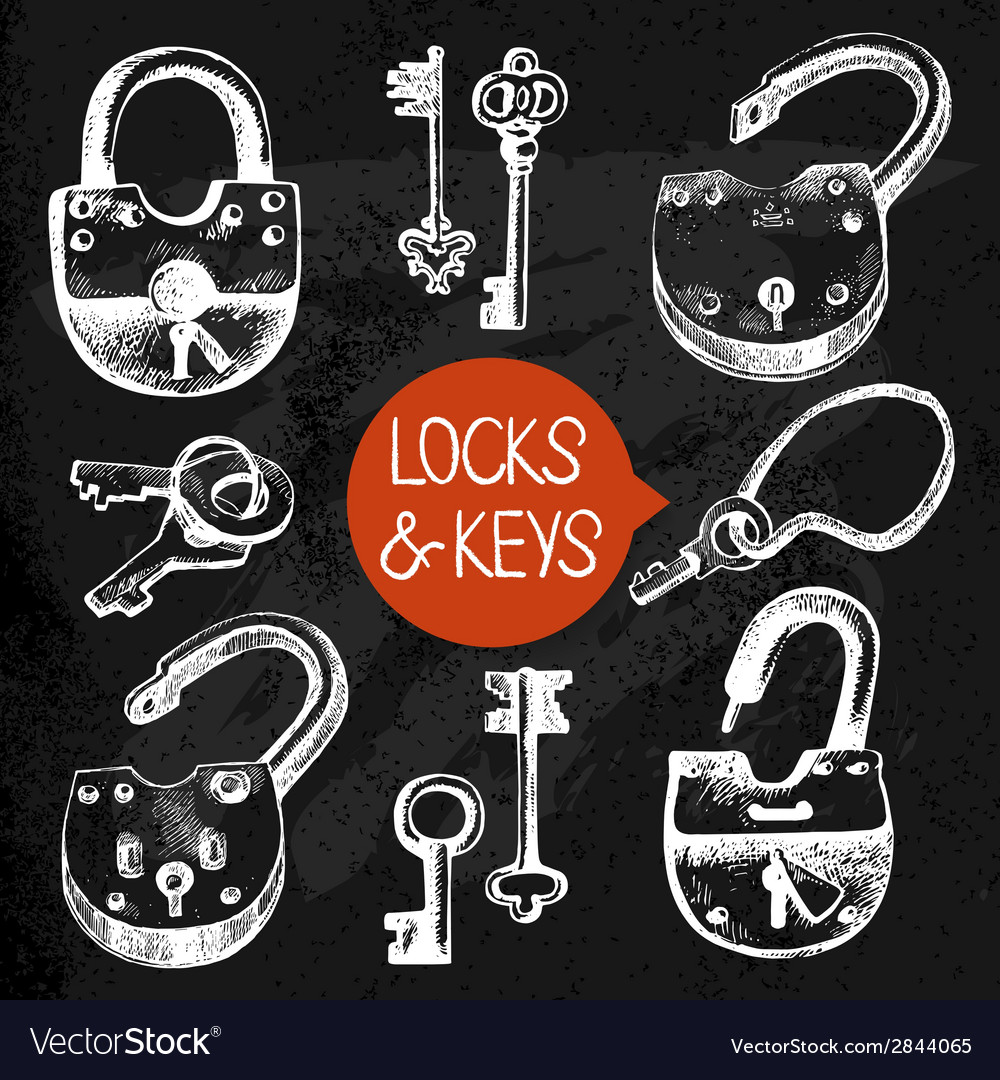 Hand drawn sketch locks and keys set vector | Price: 1 Credit (USD $1)