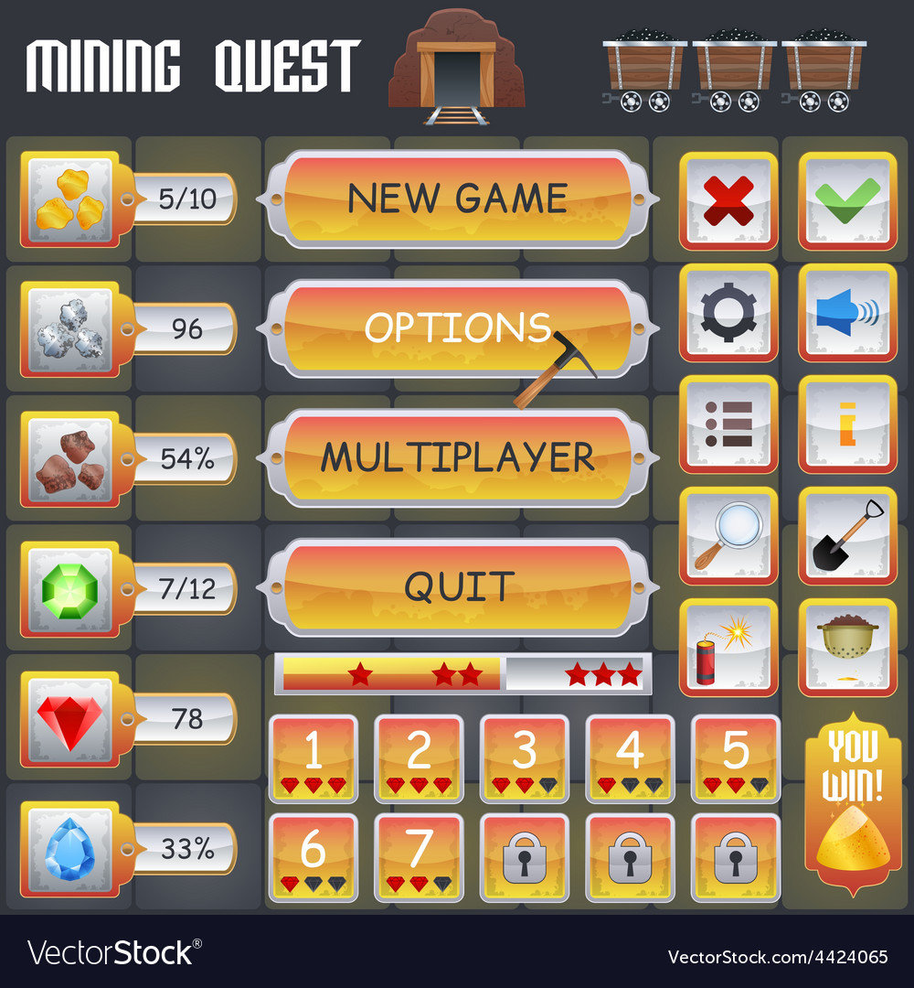 Mining game interface vector | Price: 1 Credit (USD $1)