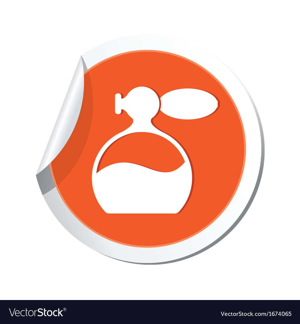 Perfume icon orange sticker vector | Price: 1 Credit (USD $1)