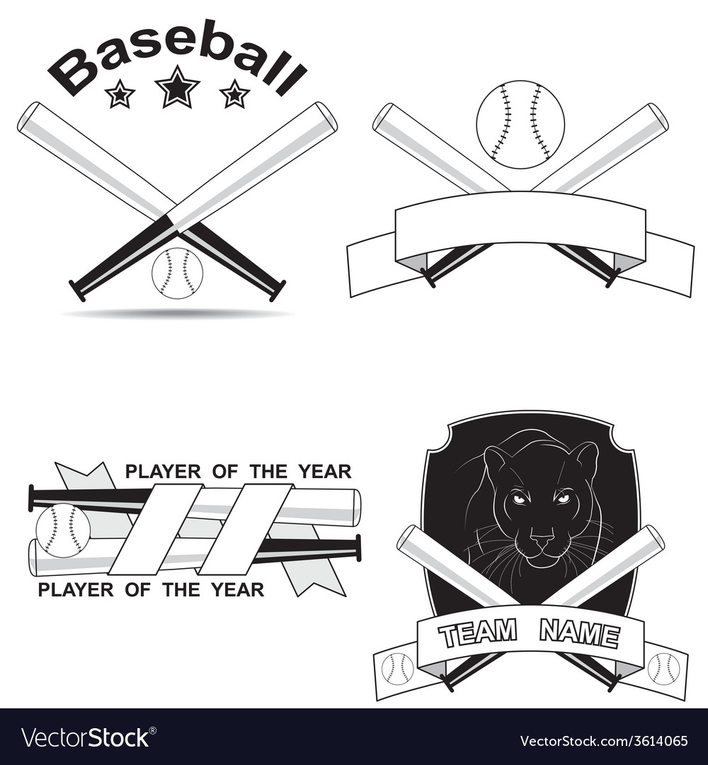 Set of stylish baseball shortcuts vector | Price: 1 Credit (USD $1)