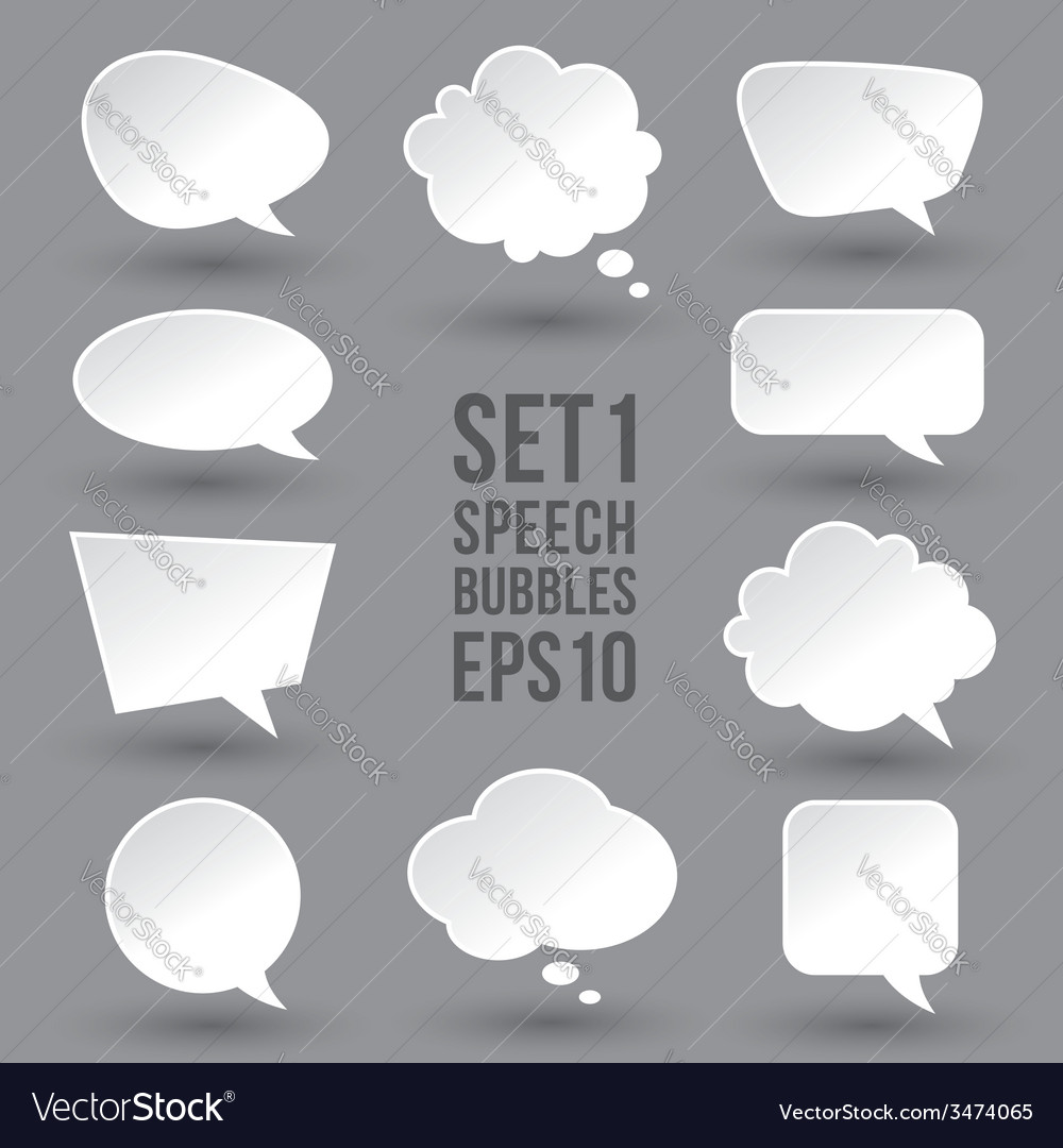 White speech bubbles set vector | Price: 1 Credit (USD $1)