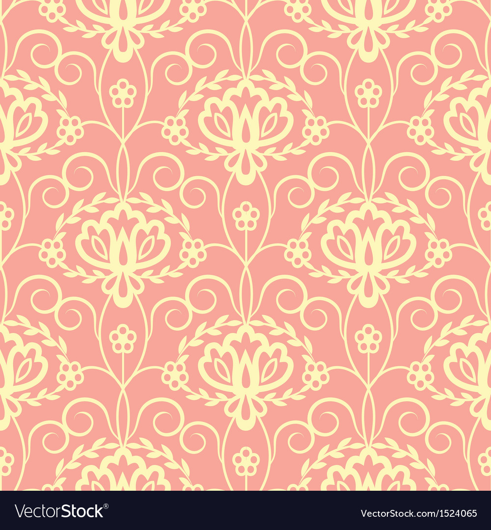 Yellow pink floral seamless pattern vector | Price: 1 Credit (USD $1)