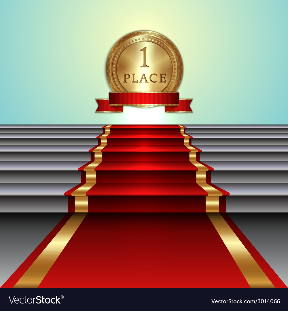 Abstract of red carpet on staircase and golden vector | Price: 1 Credit (USD $1)