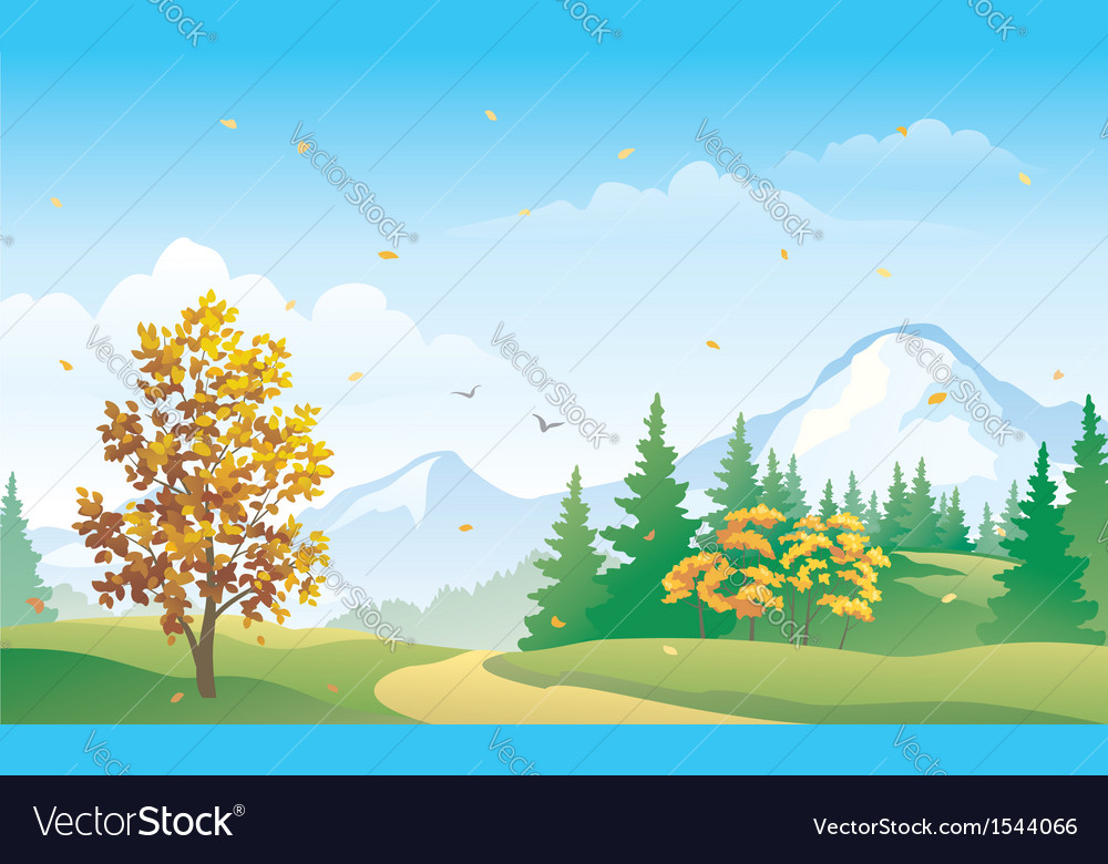 Autumn mountain forest vector | Price: 1 Credit (USD $1)
