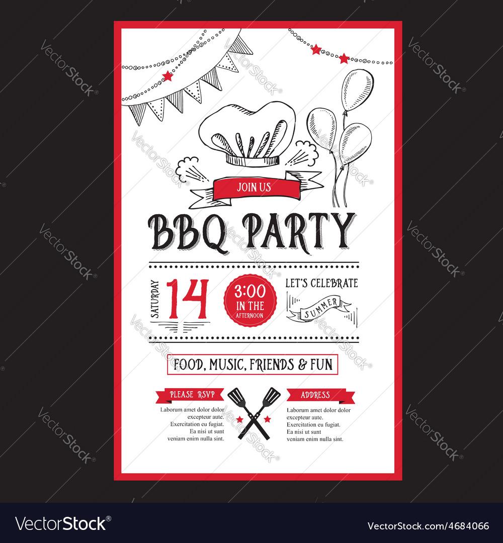 Barbecue party invitation bbq template menu design vector   Price: 1 Credit (USD $1)