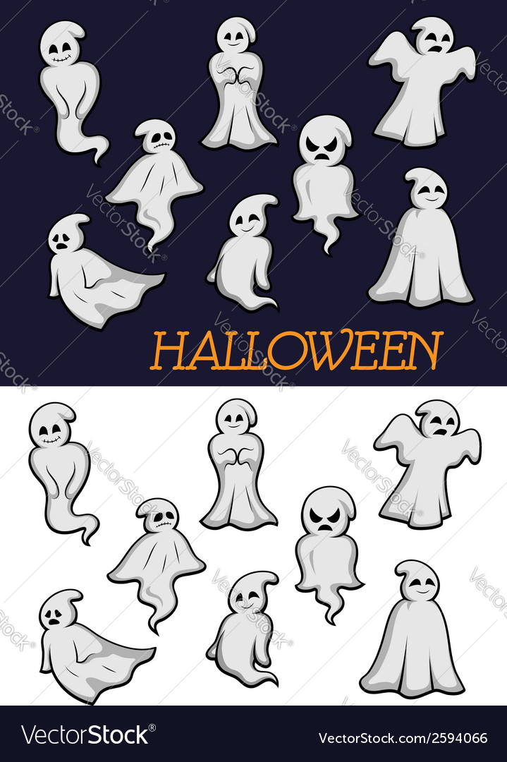 Cartoon halloween ghosts vector | Price: 1 Credit (USD $1)