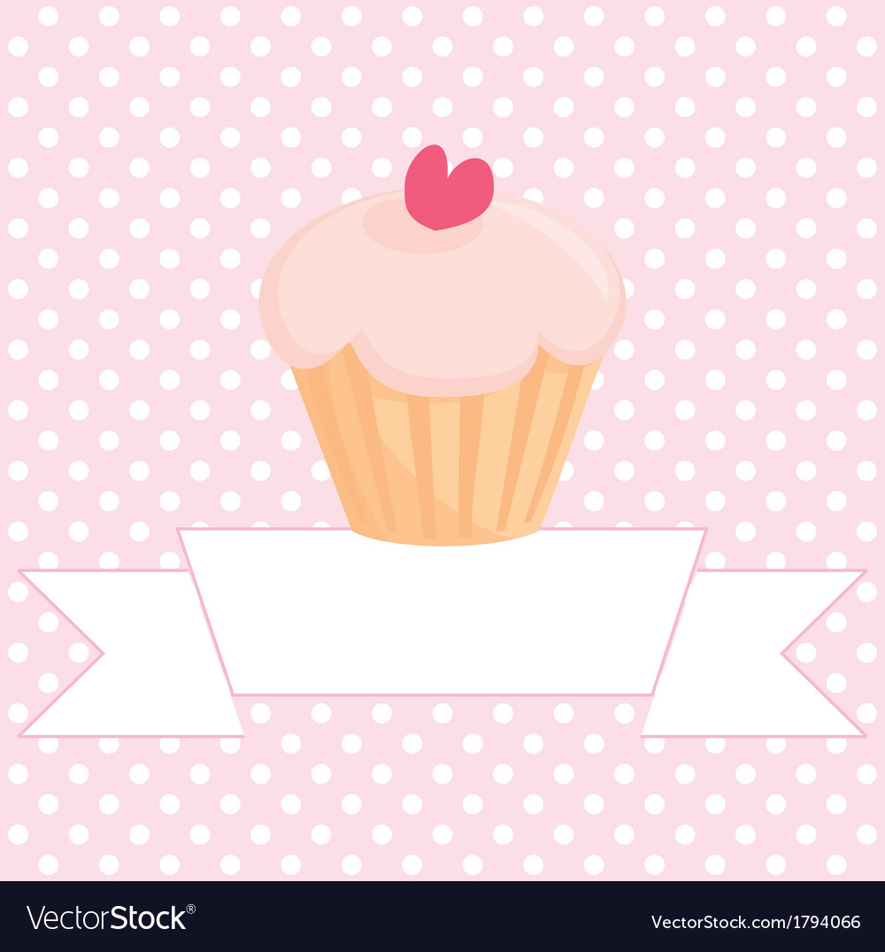 Cupcake on pink background with white polka dots vector | Price: 1 Credit (USD $1)