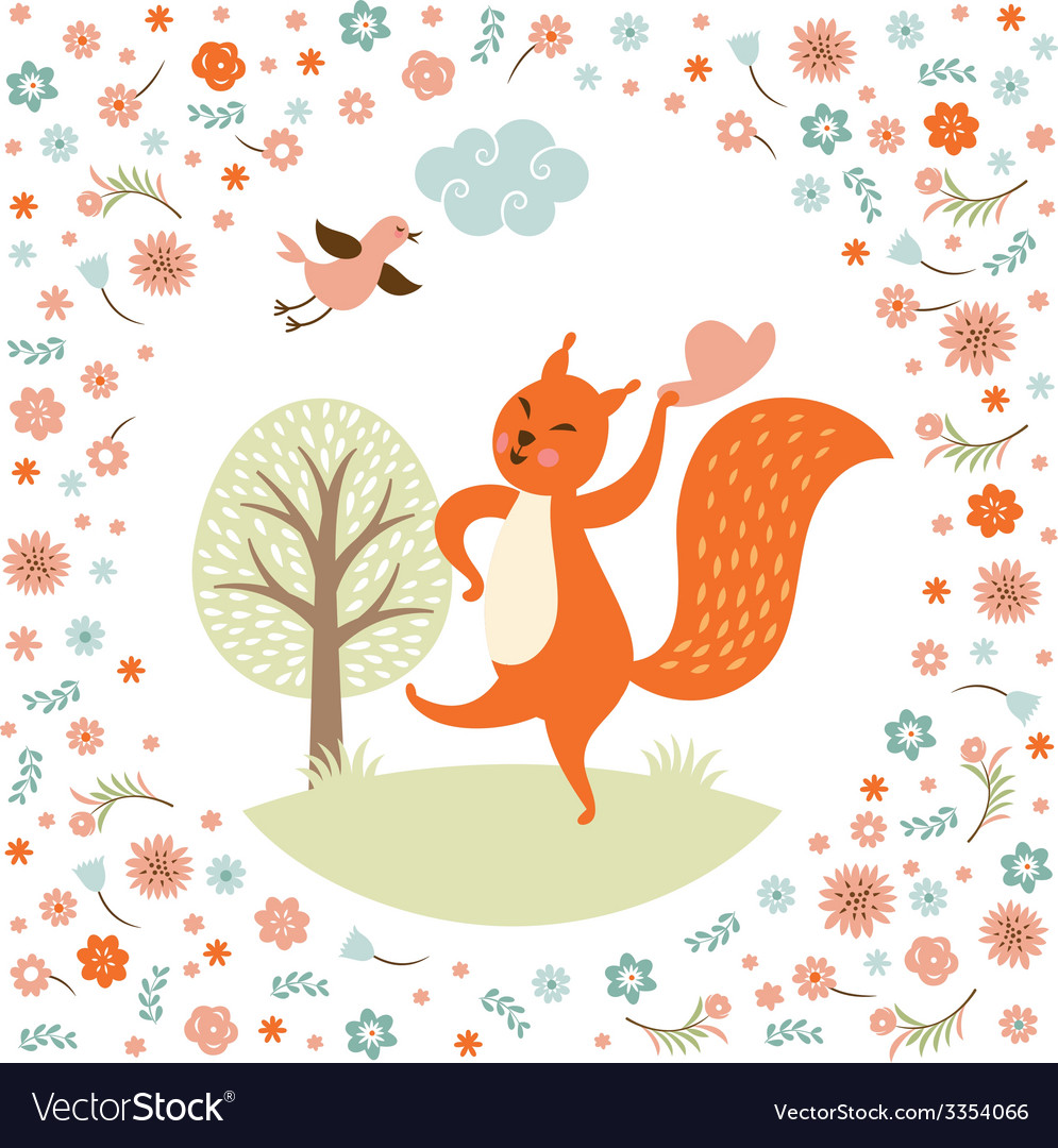 Greeting card squirell dances vector | Price: 1 Credit (USD $1)
