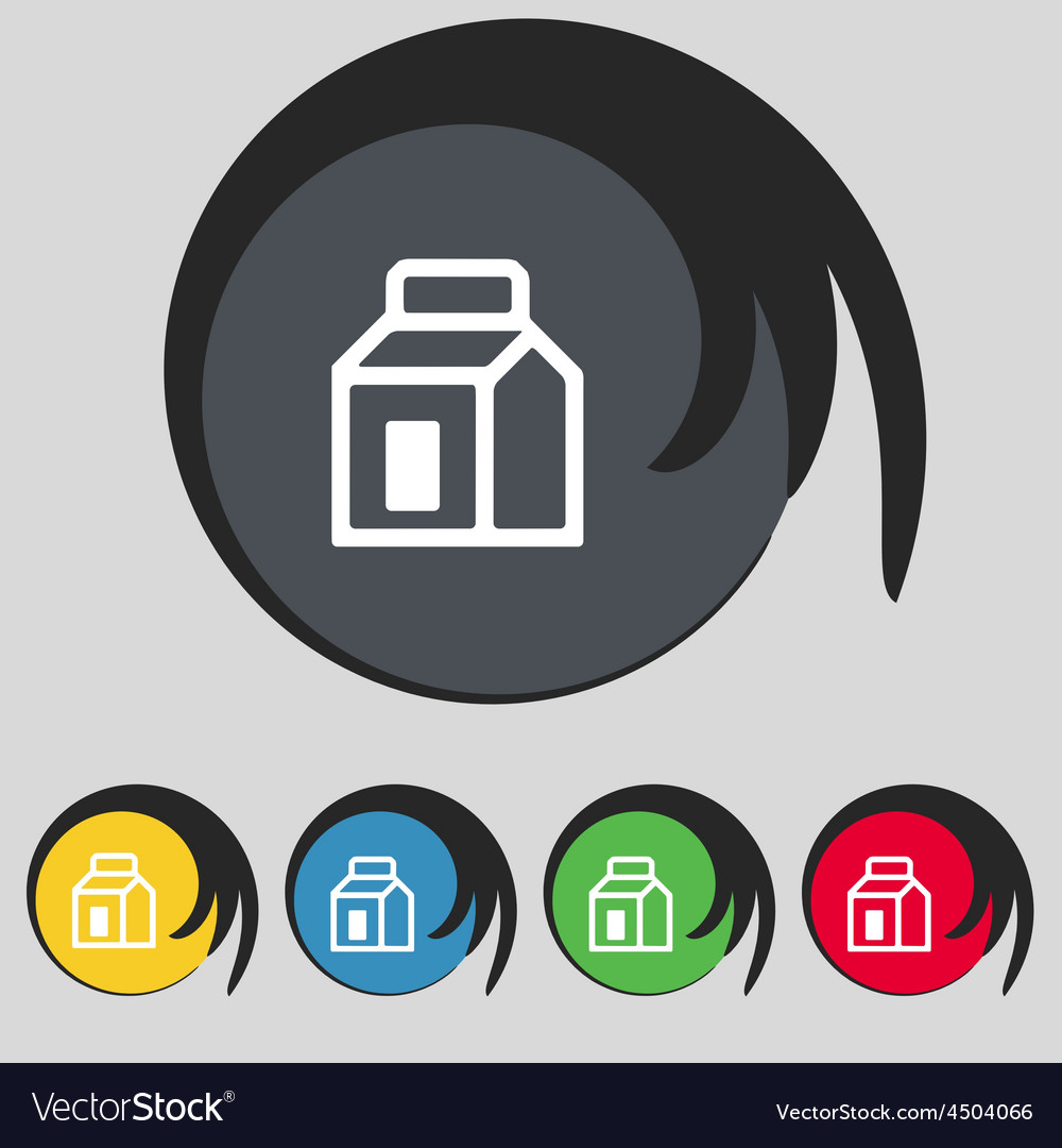 Milk juice beverages carton package icon sign vector | Price: 1 Credit (USD $1)